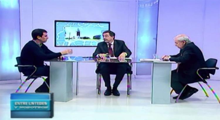 Iván Kerr  y Juan Pablo Rebora en el piso del programa Entre Ustedes y Nosotros